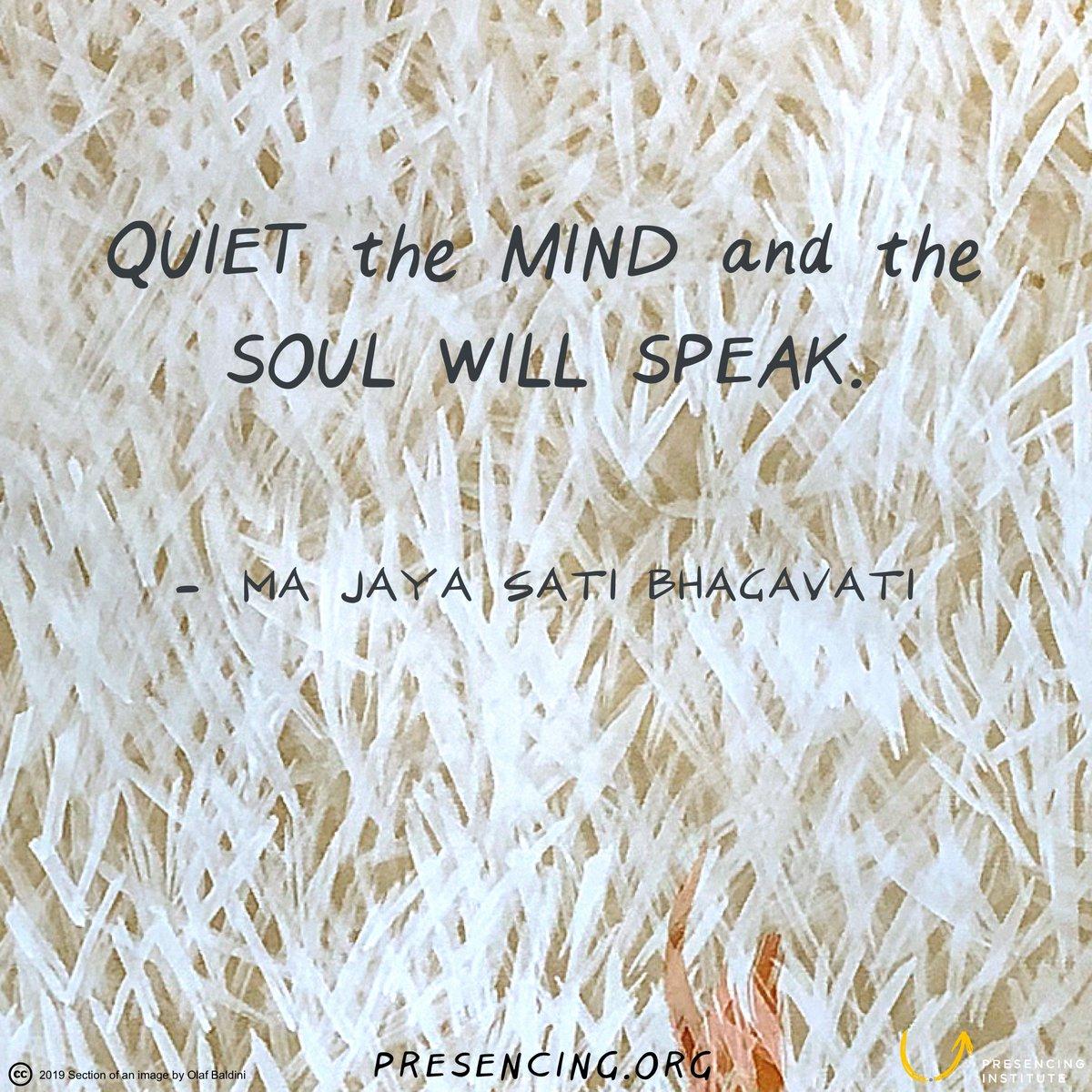 Quiet the mind and the soul will speak. #MaJayaSatiBhagavati bit.ly/35YD6j8 #payitforward @presencing_inst Drawing: Olaf Baldini