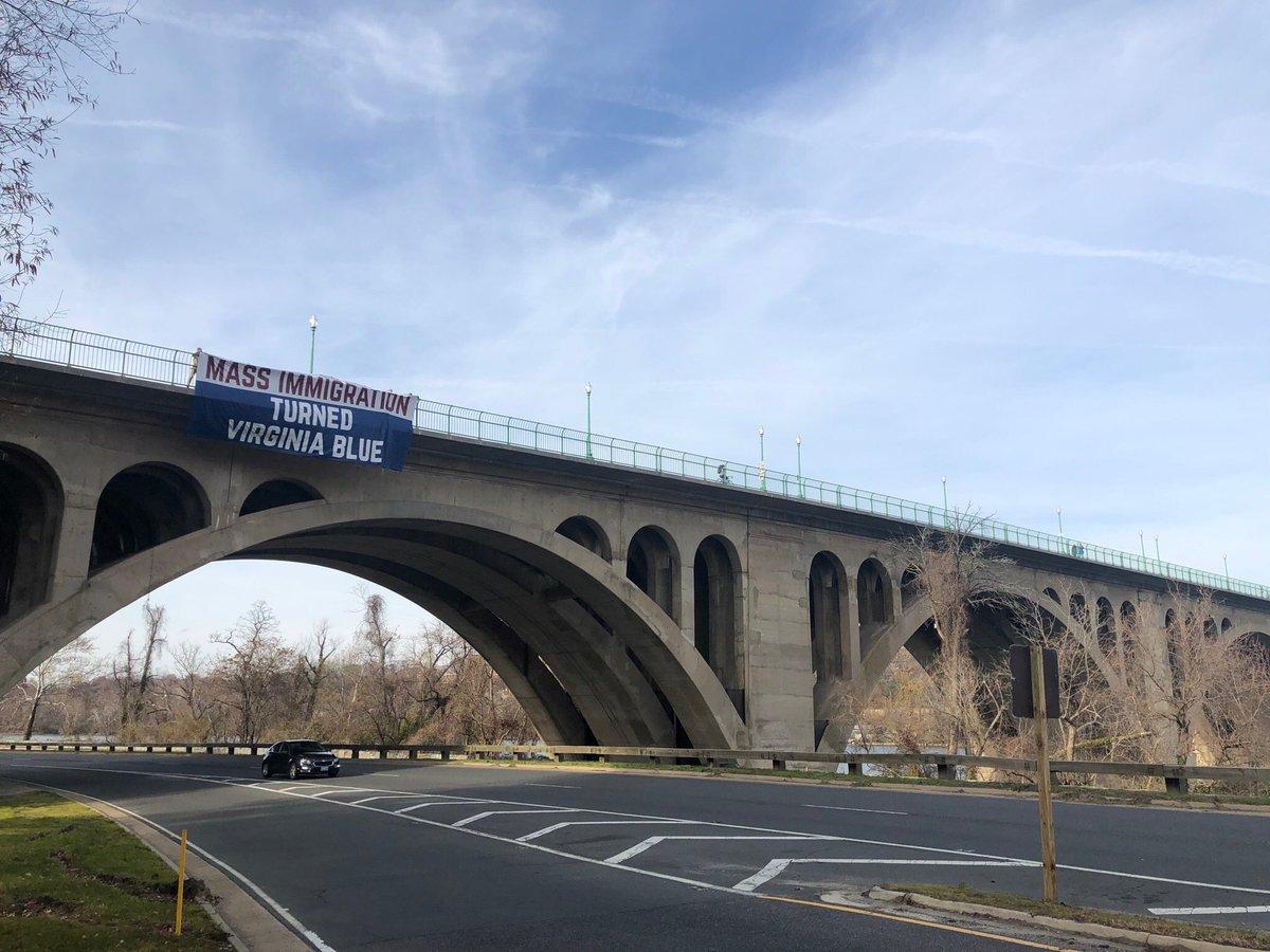hL0qoe-H_bigger 'MASS IMMIGRATION TURNED VIRGINIA BLUE' BANNER HUNG OVER BRIDGE IN ARLINGTON [your]NEWS