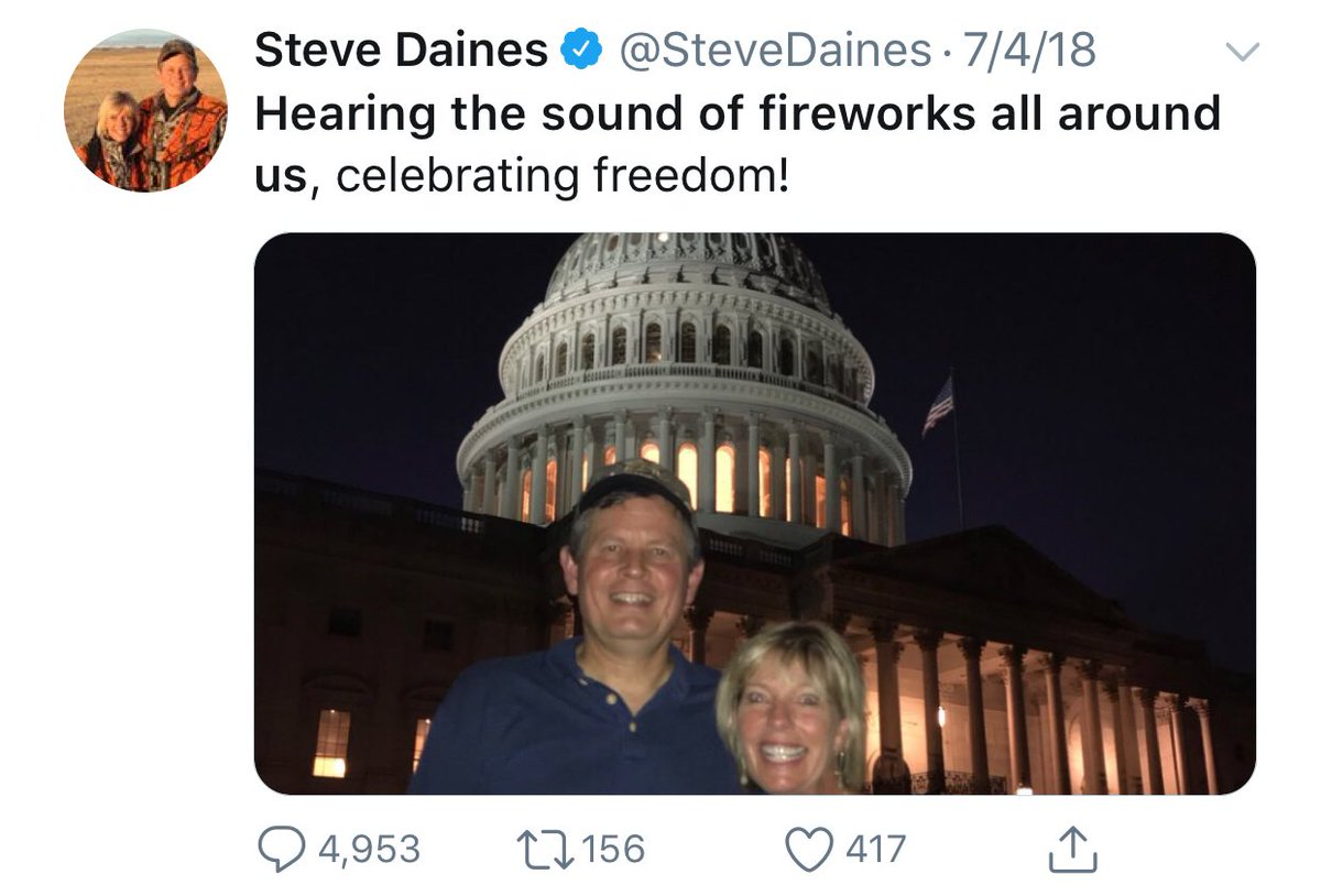Your friendly reminder that Senator @SteveDaines pretended to be in DC on the July 4th, 2018. He was in Moscow. Daines has a 2020 challenger: John Mues, a US Navy vet & teacher. Mues has 2K followers. Daines has 54K. RT & follow @MuesforMontana! Pass it on. #DemCast #DemCastMT