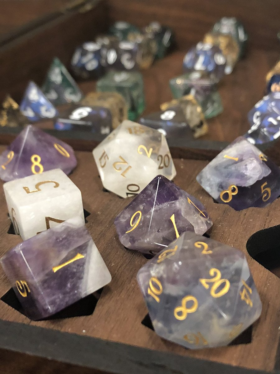 I felt like the belle of the ball at #PAXUnplugged with my @urwizards and @dakotairishIE gemstone dice in my @TabletopThings RPG Strongbox 😍 Recommend all these sellers/creators for any #dnd #rpg fan 💓 (Other dice by @Critituk @TendersWorkshop (IG) and @ArcanistsArmory)
