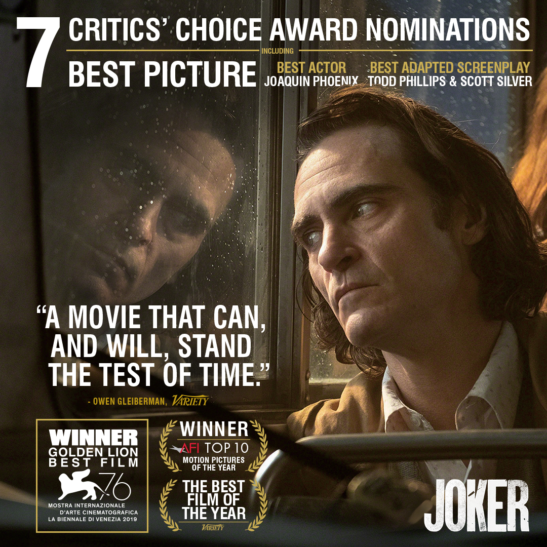#Joker has been nominated for 7 #CriticsChoice Awards including Best Picture, Best Actor, Best Adapted Screenplay, Best Score, Best Cinematography, Best Production Design, and Best Hair and Makeup. Congrats to everyone involved!