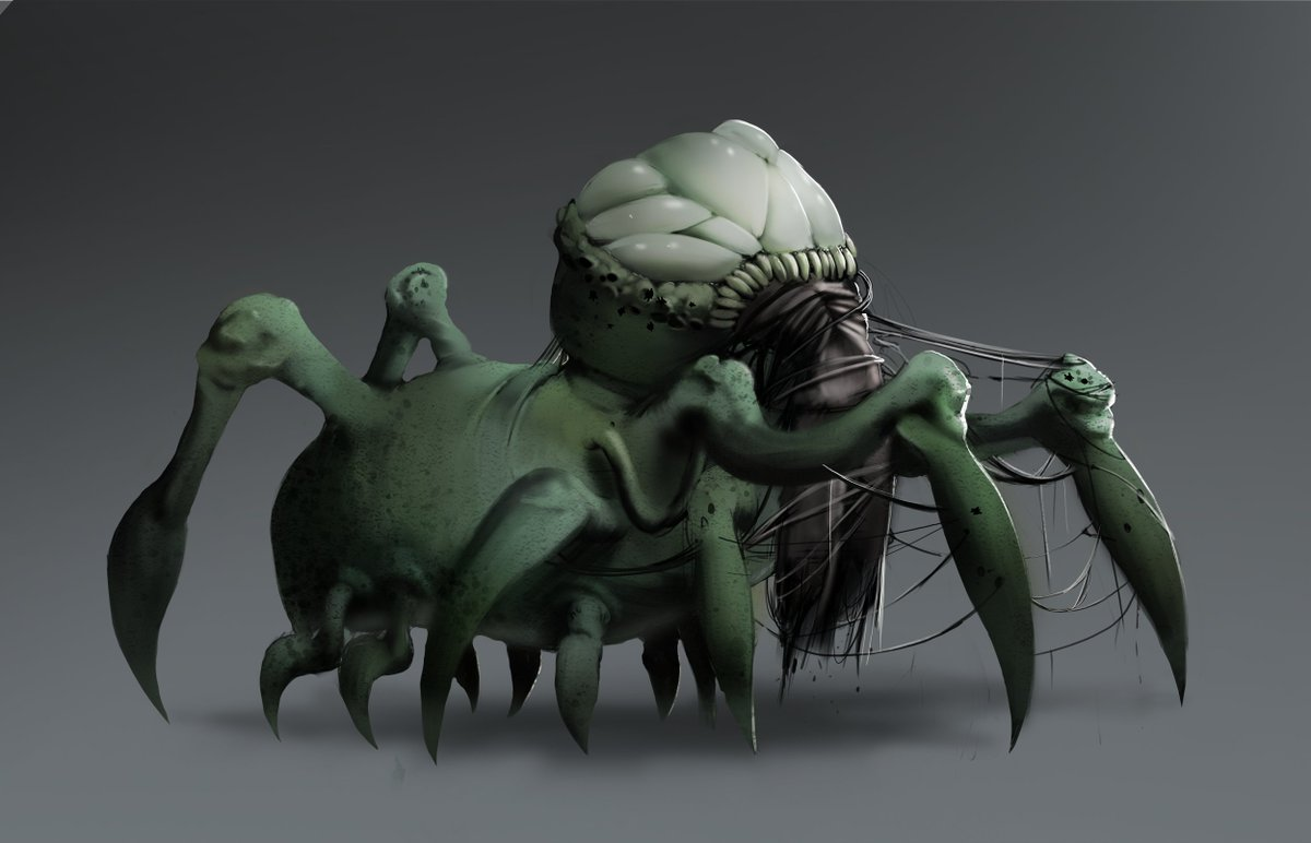O ultimo dos tres monstrinhos, esse é Larry, acredito que seja o mais sinistro. #Conceptart #concept #monster #monstro #digitalpainting #artdigital #aranha #spider #pesadelo #nightmare #sketch