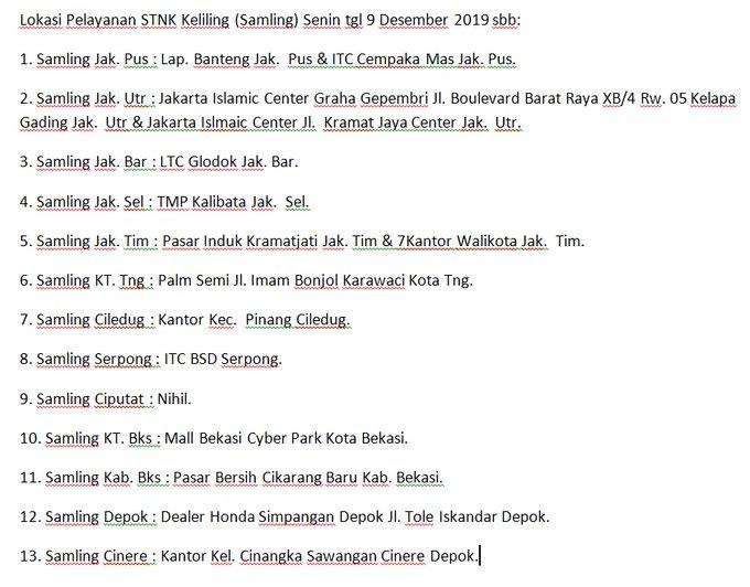 Lokasi Pelayanan STNK Keliling (Samling) Senin tgl 9 Desember 2019 sbb: