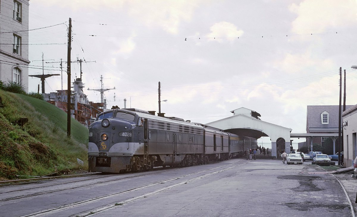 """Chesapeake & Ohio E8A #4028 has the Newport News section of the """"George Washington"""" at the ferry slip in Newport News, Virginia on September 21, 1969. Roger Puta photo. <br>http://pic.twitter.com/voXjrJ03l0"""