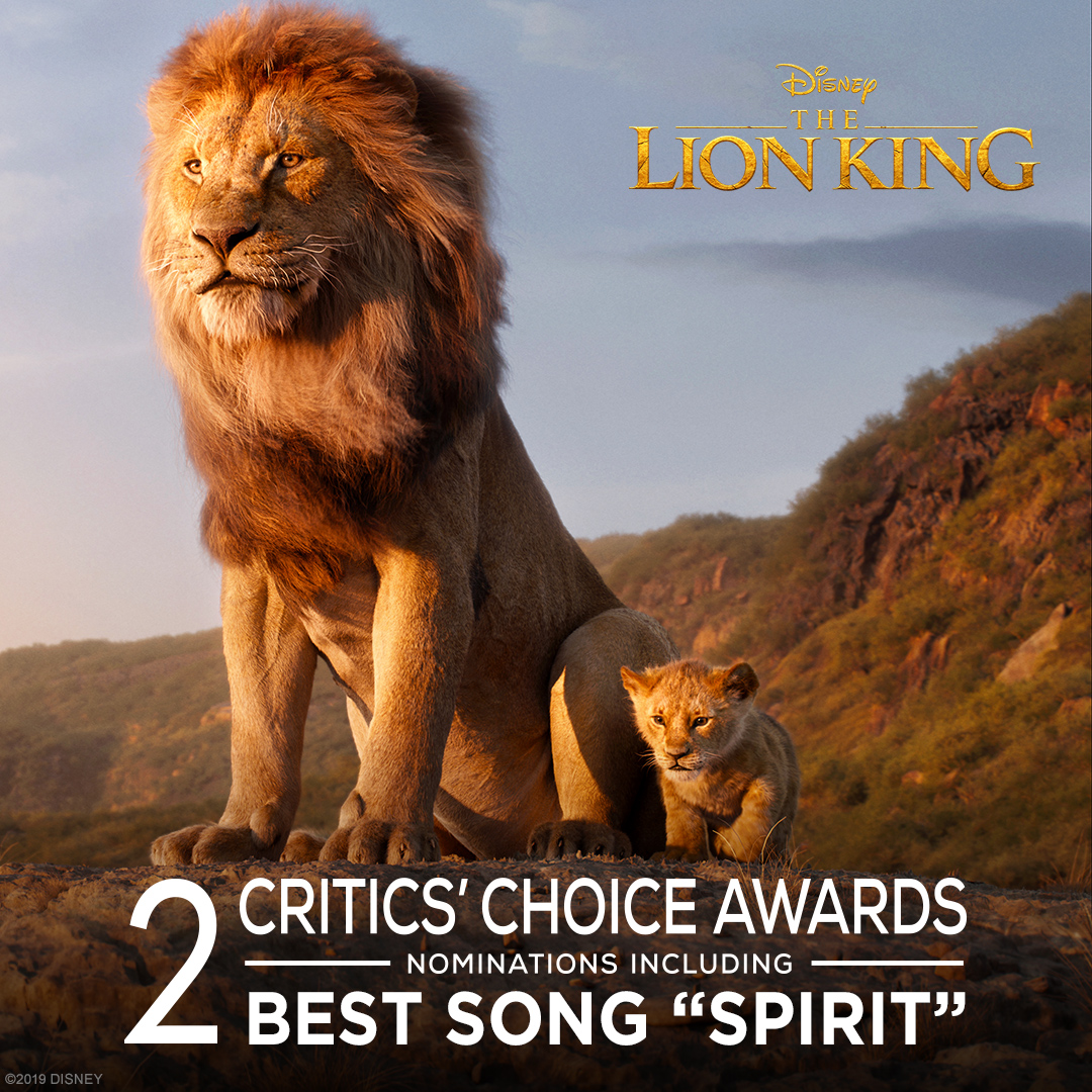 """The Lion King has been nominated for Best Song """"Spirit"""" and Best Visual Effects at the Critics' Choice Awards."""