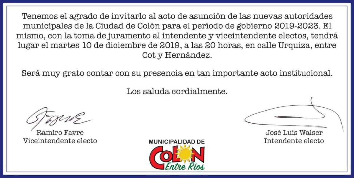 @JoseLuisWalser #martes #10deDiciembre te invitamos a participar del acto de asunción de autoridades donde tomaremos la #responsabilidad ante todos los #colonenses de trabajar juntos por una ciudad mejor!#JuntosEsMejor#VamosTodosporColón