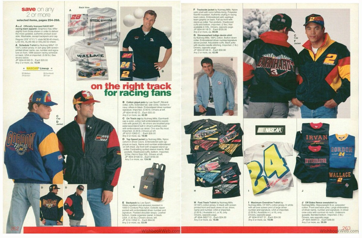 The NASCAR page from the 1996 JCPenney Christmas catalog. <br>http://pic.twitter.com/G5IgvGgWXK