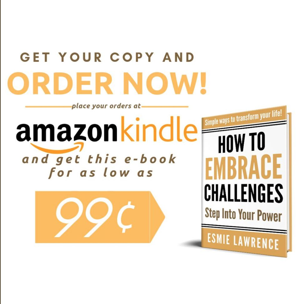 """Are you a busy, #professionalwoman who is stressed and overwhelmed, juggling all your commitments? @esmielawrence knows how to turn that around! Check out her new book for only $.99 today on @AmazonKindle """"How To Embrace Challenges: Step Into Your Power"""" https://amzn.to/2Ur7XUd"""