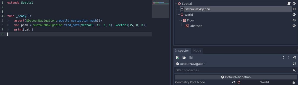This is it. Just a Navigation Node. You set the root node of geometry and then you're able to use the code to the left. Changes to geometry can be updated to navigation with rebuild_navigation_mesh().  Gotta add a static bake method though and different selectors. #GodotEngine<br>http://pic.twitter.com/QeeefdtmCs
