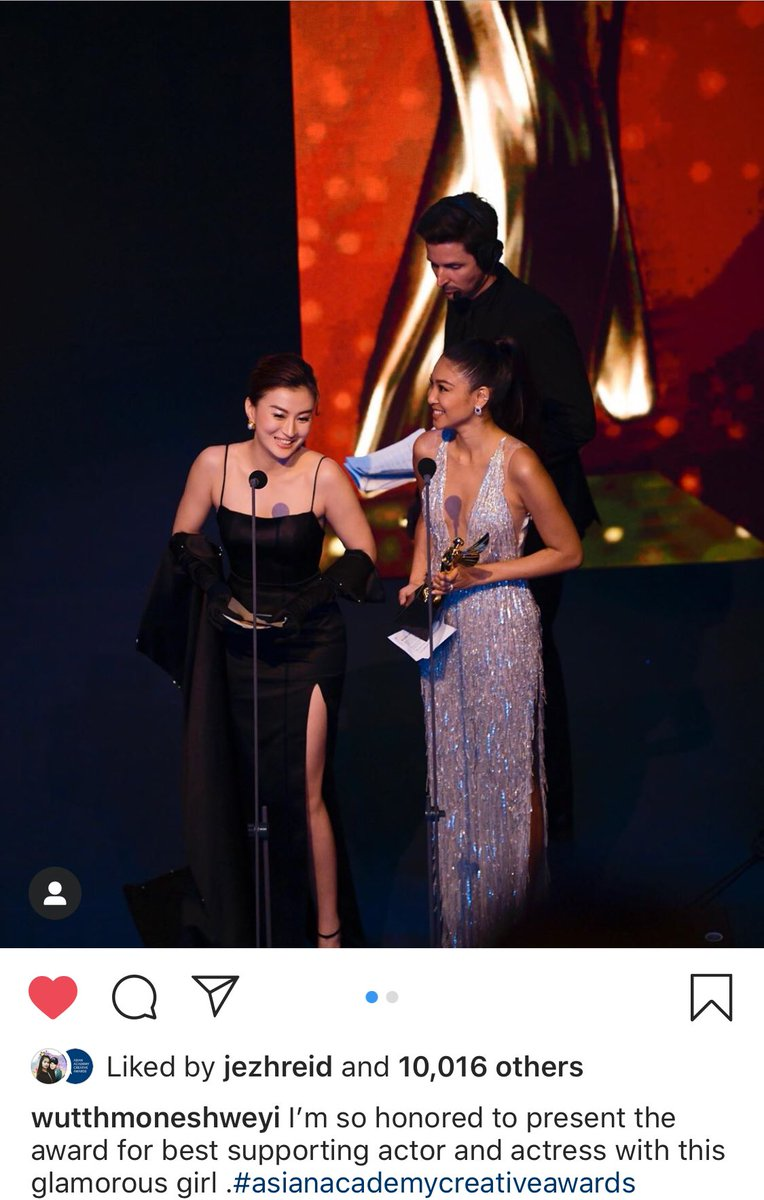 I'm so honored to present the award for best supporting actor and actress with this glamorous girl .#asianacademycreativeawards wutthmoneshweyi <br>http://pic.twitter.com/uywzN4xtXA