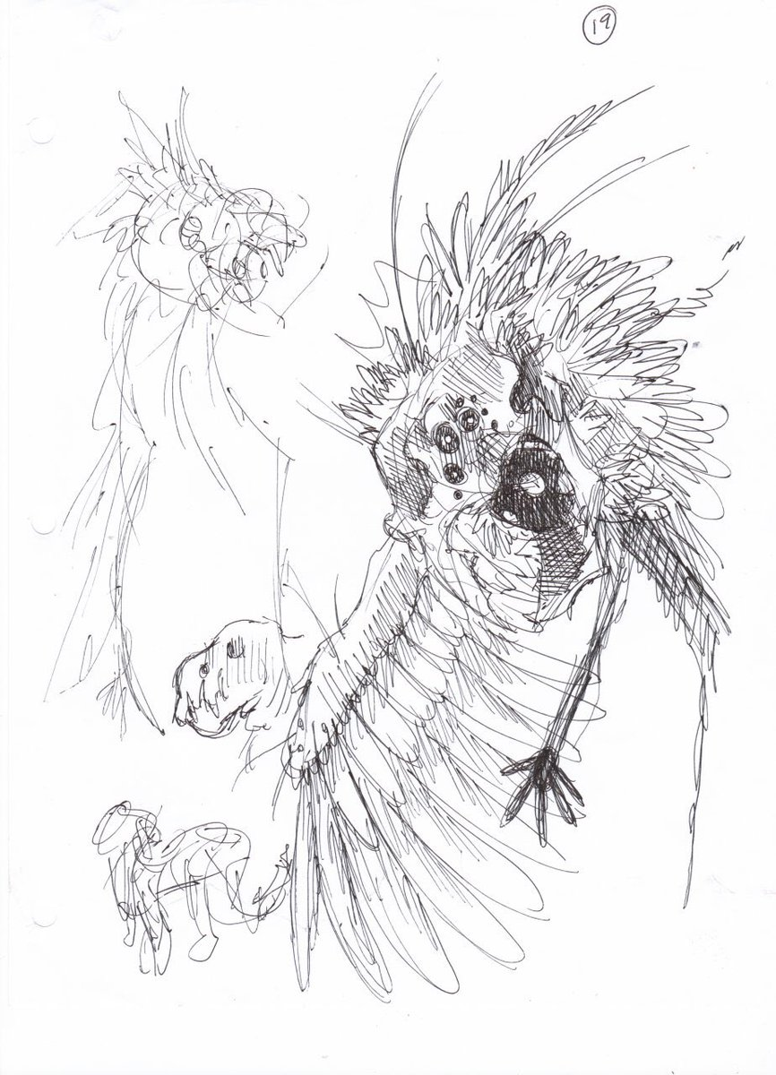 """Here's another drawing I did 7 years ago. """"How many construction lines you used for this sketch?"""" Me: """"...yes?"""" #bird #man #fantasy #wtfart #wtf #art #nocluewhatimdoing #sketch #concept #pen #pencil"""