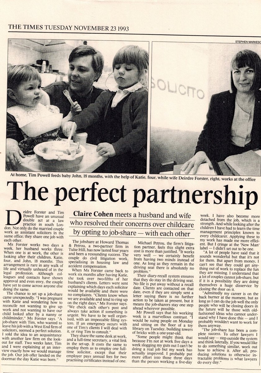 My Mum, who is retiring this week, dug out this article from 1993 about the job share she did with my Dad  <br>http://pic.twitter.com/ycJ9sB3Dok