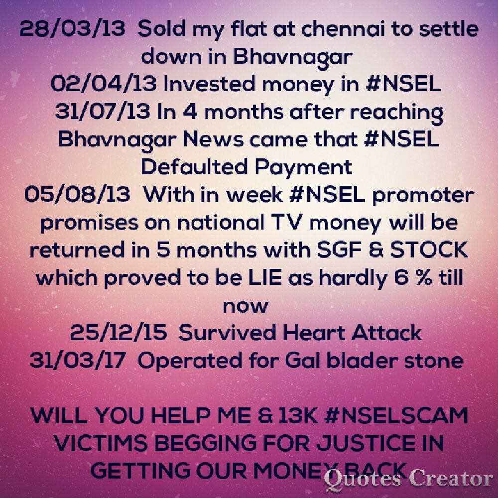 What could be #MondayMood for a #NSEL scam victim couple who are requesting for justice to @PMOIndia shri @narendramodi @FinMinIndia @nsitharaman since last 77 months and no one cares to reply.