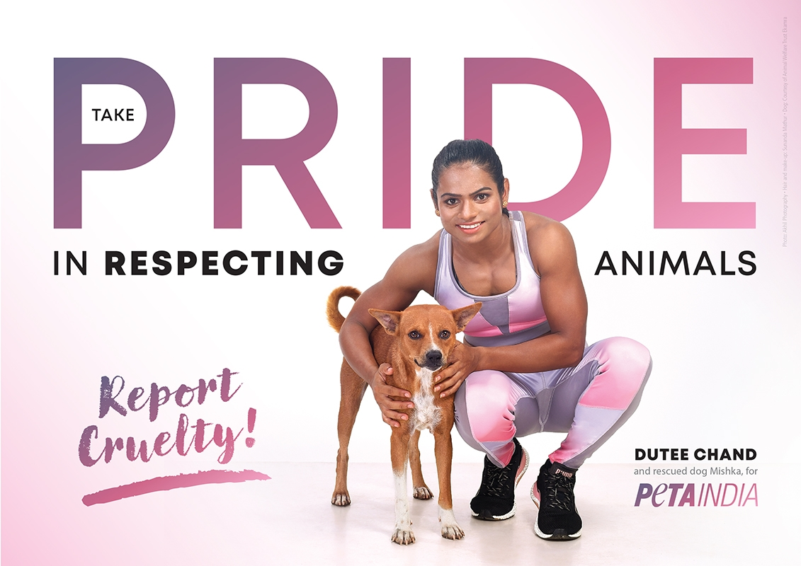 #Olympic sprinter #DuteeChand -- #India's first professional athlete to come out as a member of the #LGBTQ+ community -- has starred in a new People for the Ethical Treatment of Animals (#PETA) #India ad for International Animal Rights Day.Photo: IANS