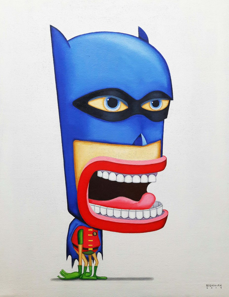 """From the recent groupshow """"Heroes and Villains 18x24 in. oil on canvas #bigmouth #bgmth #batman #thecapedcrusader #robin #theboywonder #heroesandvillains<br>http://pic.twitter.com/mIWPD9EUJ7"""