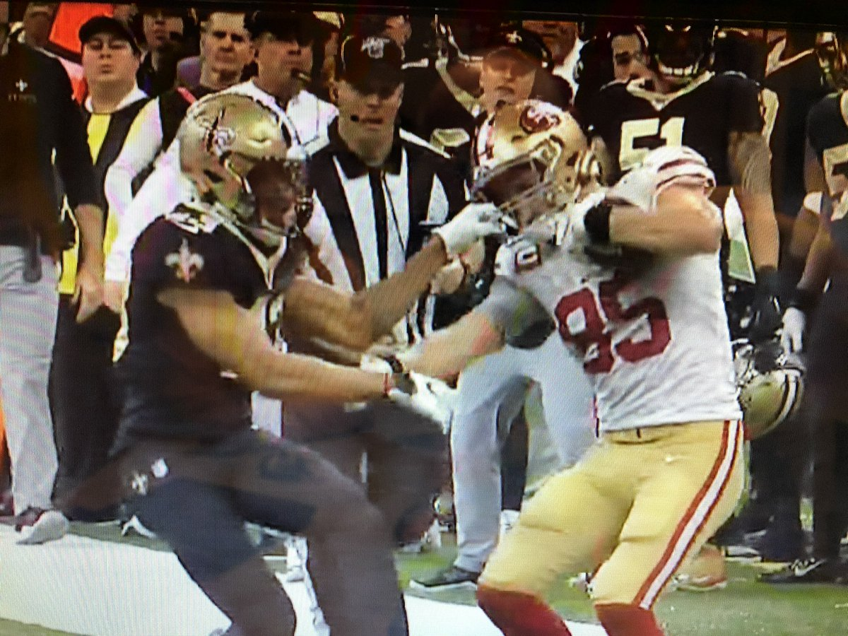 .@espn are you nuts? @gkittle46 dragging 3 @Saints players down the field, with one of them hanging off his face mask, is #4 in the #SCtop10 ? 🤦♂️