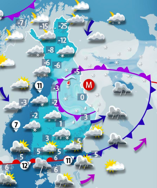 Good morning! It will be a cold and wet start to the week across #Finland, as a low pressure front will bring rain showers to southern areas and snow to the rest of the country. Temperatures will range from 6 degrees along the southern coast to -12 in Finnish Lapland.