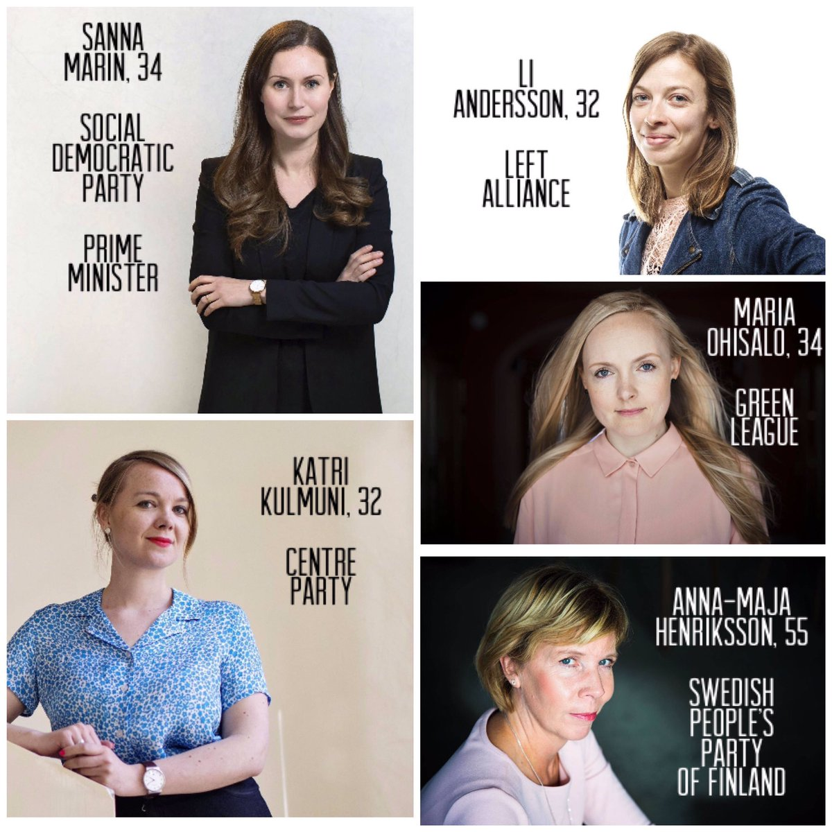 My party is not in government, but I rejoice that the leaders of the five parties in government are female. Shows that #Finland is a modern and progressive country. The majority of my government was also female. One day gender will not matter in government. Meanwhile pioneers.  <br>http://pic.twitter.com/dW8OMEOiqb