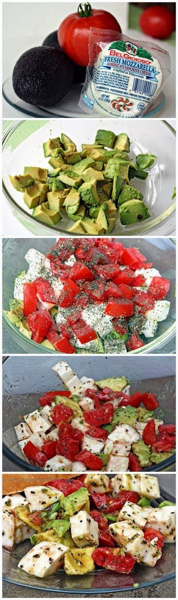 Mozzarella Avocado Tomato Salad  #lowcarb  super easy and looks delicious! Sharing with Low Carb ♥  #food #yum #yummy #foodporn #chef #delicious #healthyfood #healthy #eat