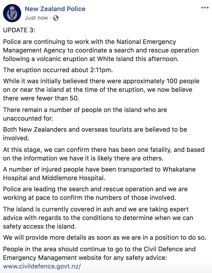 """LATEST: New Zealand police say at least one person has died after volcanic eruption on island popular with tourists: """"Based on the information we have it is likely there are others."""" abcn.ws/2RED7EZ"""
