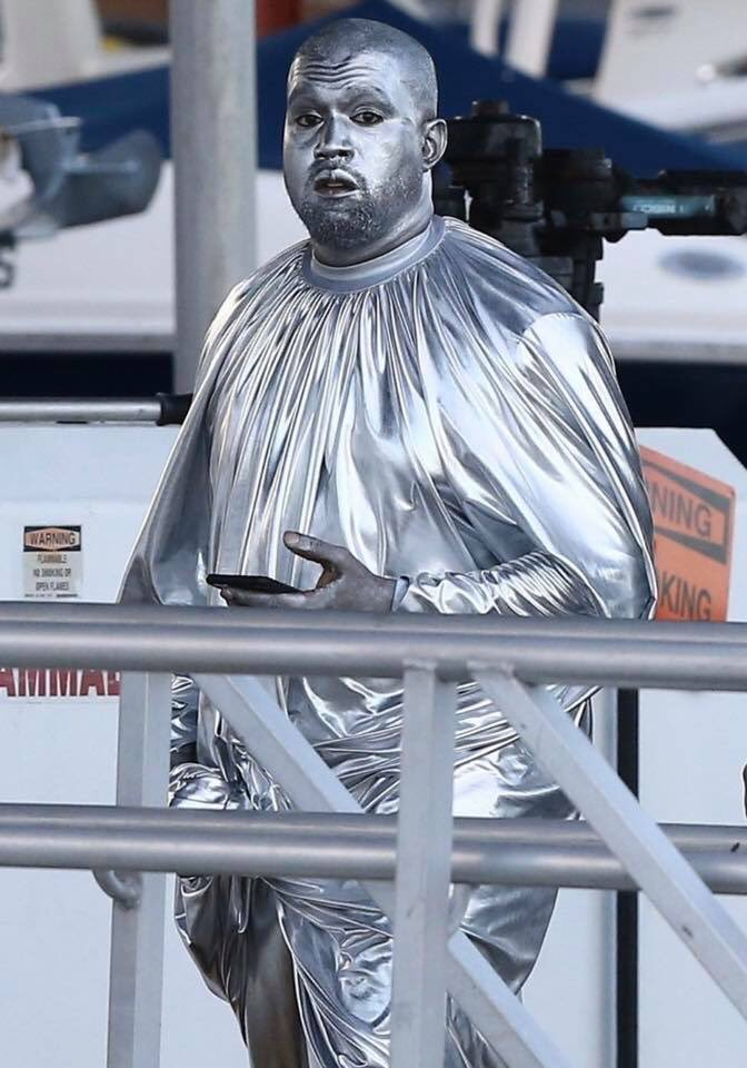 Kanye West Paints His Body Head-To-Toe In Silver For His Opera