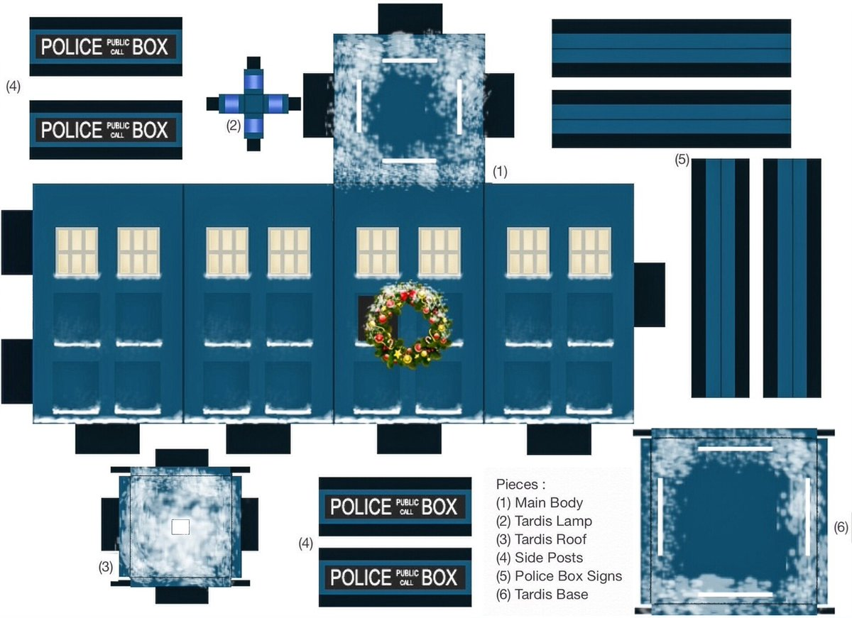 @DWComicArt Day Nine ❄️ ~ Papercraft Tardis Ornament ✂️ Print out the pieces, follow the instructions & display! 🎄 Let me know if you attempt it, Id love to see how you get on!! 💙 #DoctorWho #AdventCalendar #Christmas #Tardis #Papercraft