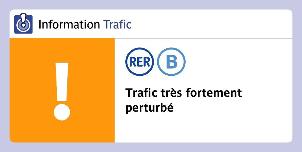 ⚠️[Mouvement social]⚠️ Trafic #RERB très fortement perturbé mardi 10 décembre. Entre St-Rémy/Robinson et Gare du Nord, 1 train sur 3 aux heures de pointe. Aucun train aux heures creuses. Changez de train à Gare du Nord pour poursuivre votre trajet. https://t.co/dxdXtL5Emv