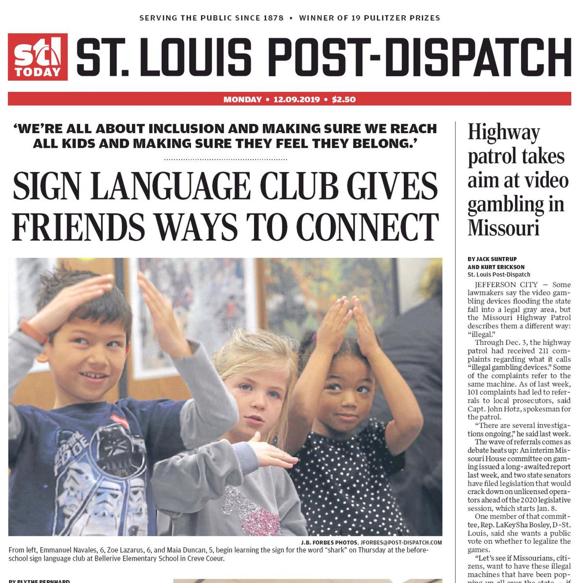 The front page of today's @stltoday. This is Parkway's @BelleriveElem.