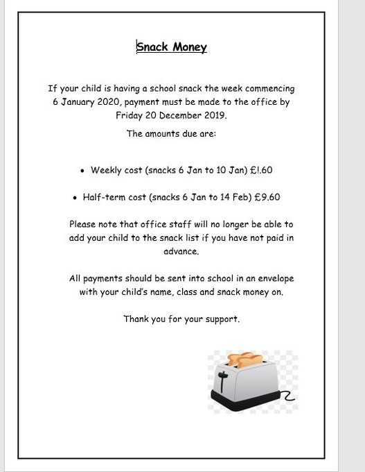 If your child would like school snack after the Christmas break - see below https://t.co/1LyOPSHhZ5