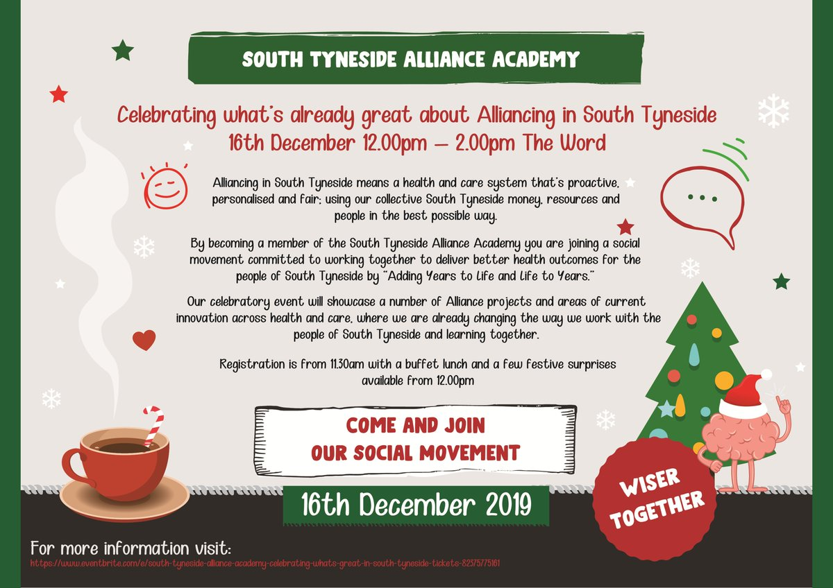 Are you interested in becoming a member of our South Tyneside Alliance Academy, committed to delivering better health outcomes for the people of South Tyneside? If the answer is yes, then book a place at our celebration event on Monday 16th December. ow.ly/vUbo50xtpdK
