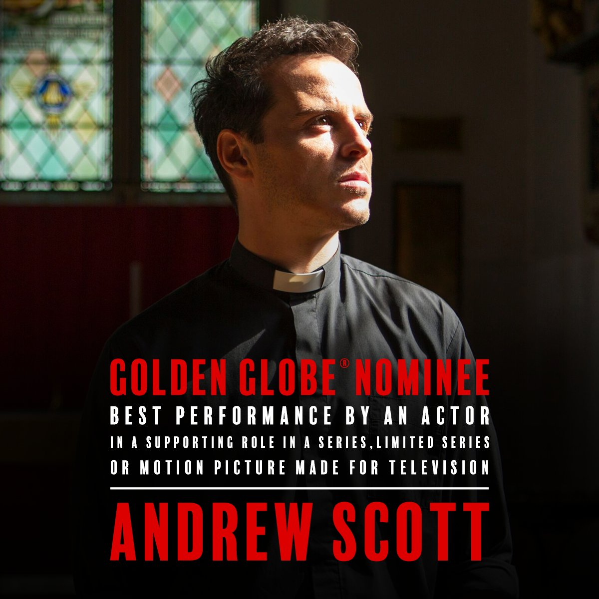 Just when you thought hot priest couldn't get any hotter, he gets a #GoldenGlobes nomination. Help us congratulate our favorite man of the cloth, Andrew Scott! #Fleabag