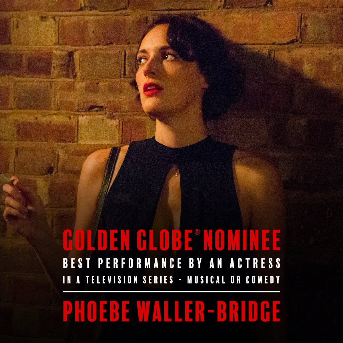 She's a natural rule breaker. Congratulations to our #Fleabag, Phoebe Waller-Bridge, on receiving a #GoldenGlobes nomination for Best Actress - TV Series, Musical or Comedy!