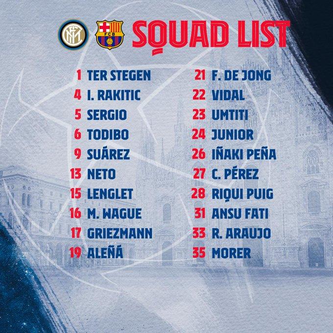 ELWRCKzXsAAxqQI?format=jpg&name=small Piqué, Messi y Sergi Roberto fuera de la convocatoria para viajar a Milán - Comunio-Biwenger
