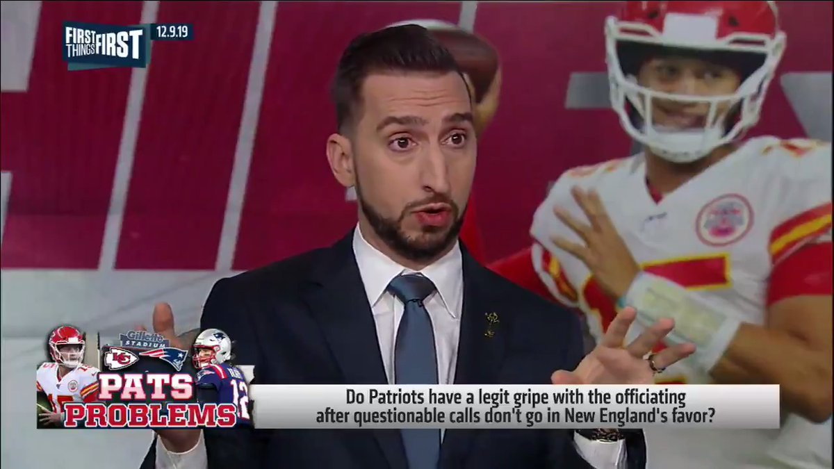 """The reaction to, for the 1st time in my memory, some tough calls going against New England is so rich and borderline unbelievable. It sucks to have the calls go against you. That's the NFL in 2019 guys, welcome to it Patriots fans."" — @getnickwright"