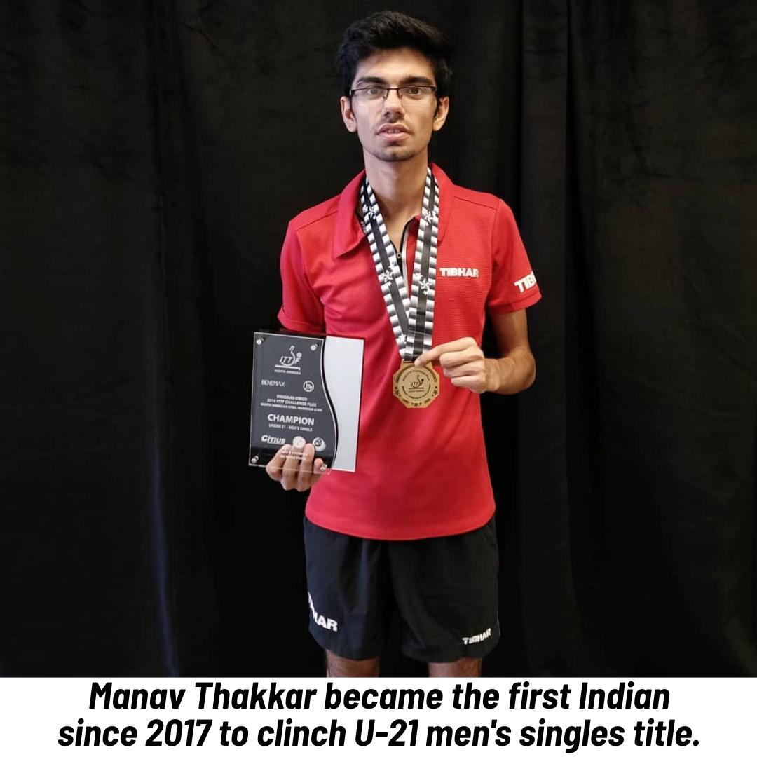 #ManavThakkar scripted #history as he #won U-21 men's singles title over #Argentina's #MartinBentancor in the #ITTFChallengePlus #BenemaxVirgoNorthAmericanOpen in Markham, Canada. Well done Manav!