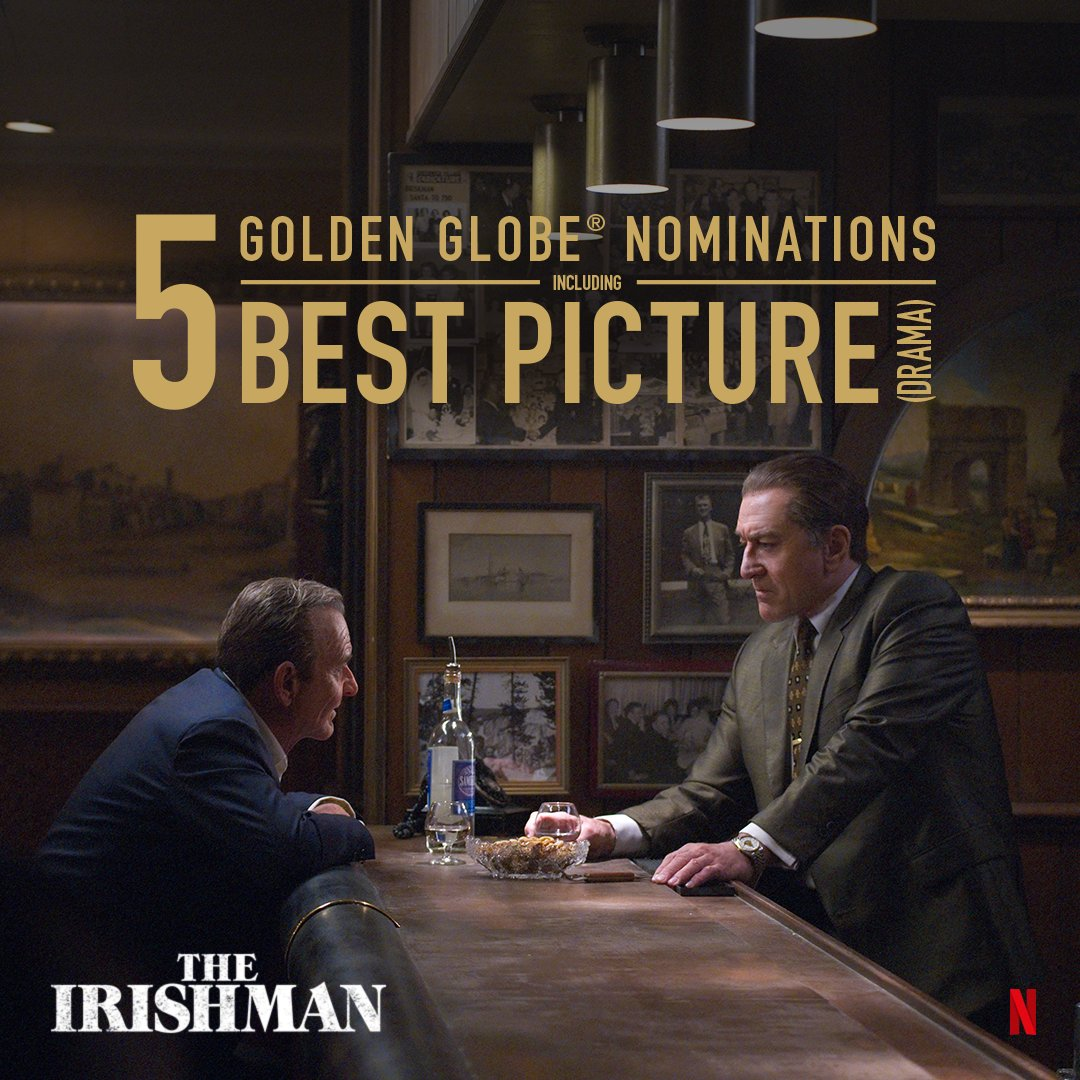Replying to @TheIrishmanFilm: Honored to have received 5 total #GoldenGlobes nominations, including Best Picture - Drama.
