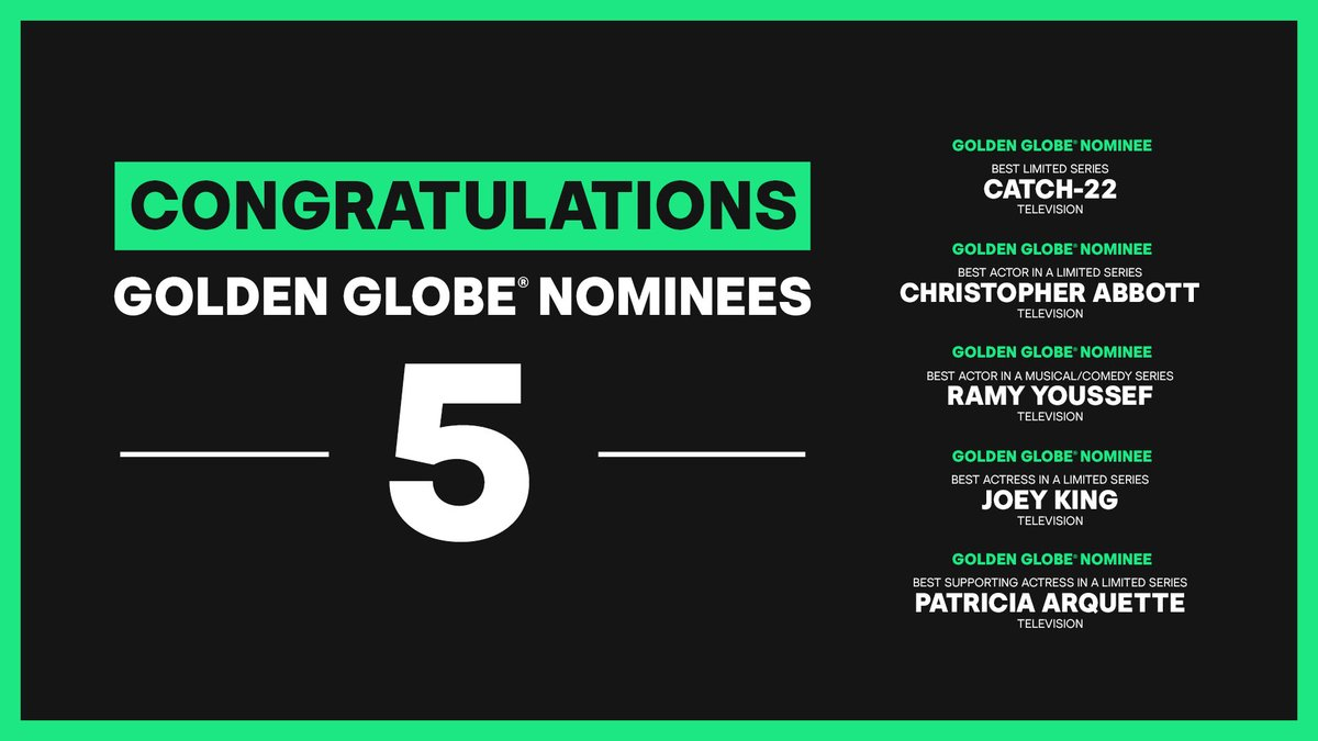 Congratulations to all of our nominees. #GoldenGlobes