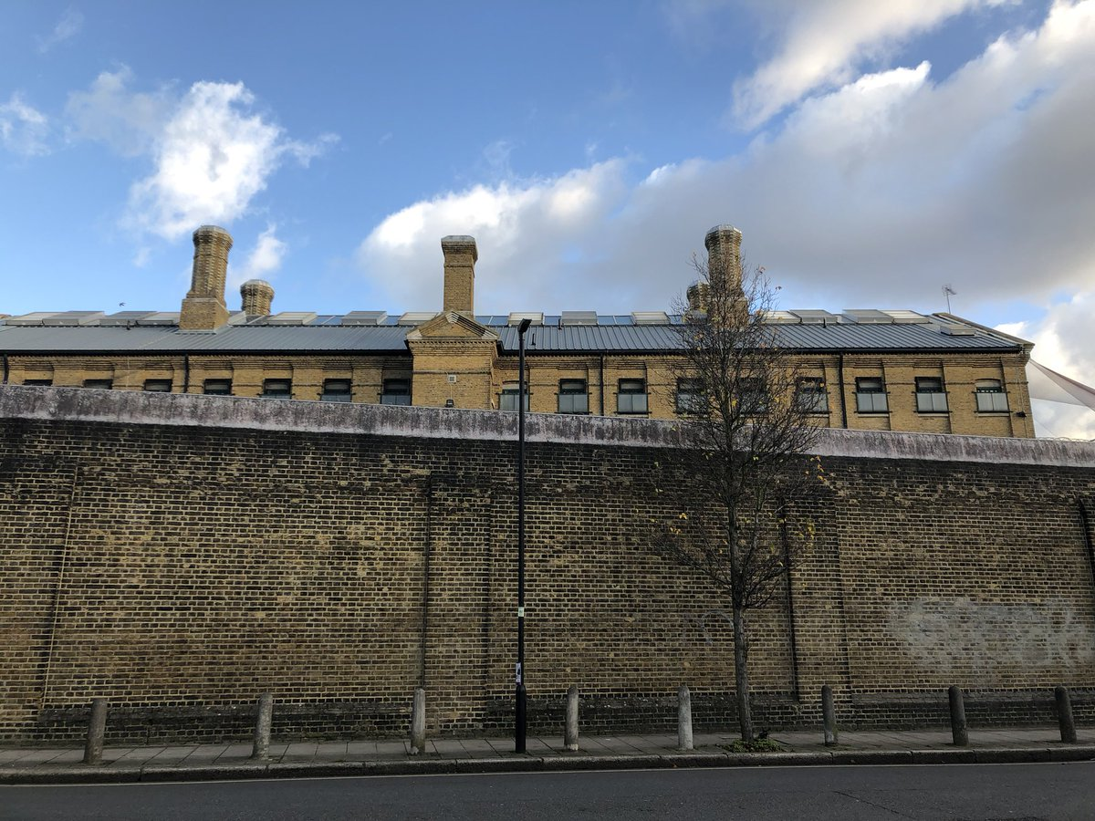 Prison walls - just visited @TheClinkCharity - a first rate restaurant in @HmpBrixton helping prisoners learn skills for the restaurant business - reduces re-offending to 7%. Impressive.