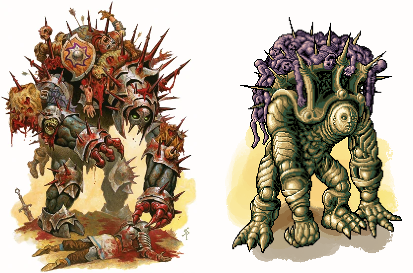 Put my own spin on the Cadaver Collector - The original has a very 'Todd Mcfarlane' vibe, but I'm more  partial to the 'Dark Souls' school of design.   #DnD #dnd5e #pixelart #pixel_dailies #ttrpg #undead<br>http://pic.twitter.com/Kq4vNEELhj