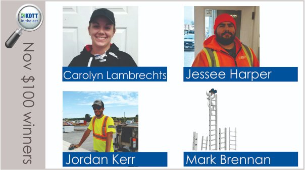 Here are the 4 winners of our employee recognition program draw for November - they each won $100 gift cards! They were nominated for living KOTT values while carrying out their day-to-day jobs #kottintheact #beonboard #ownit #safetyfirst #reachformore #keepitrealpic.twitter.com/5ZvC0CI0fd
