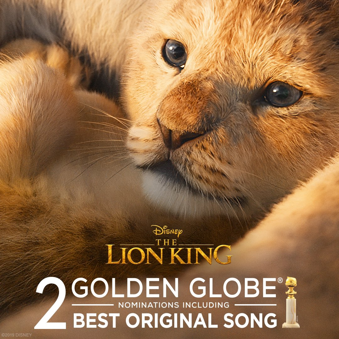"""The Lion King has been nominated for 2 Golden Globe Awards including Best Original Song (""""Spirit"""" performed by @Beyonce). #GoldenGlobes"""