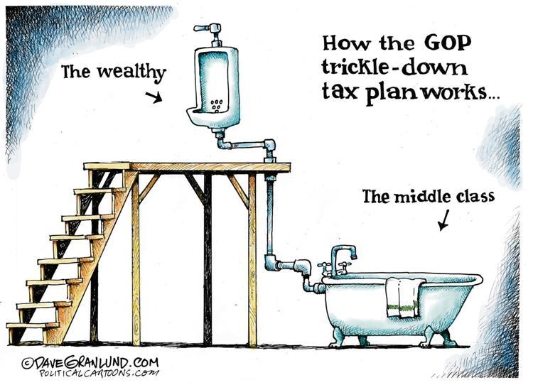 One cartoonist's take on trickle-down economics. #canlab #1u #cdnpoli<br>http://pic.twitter.com/0d0HGZjfP8