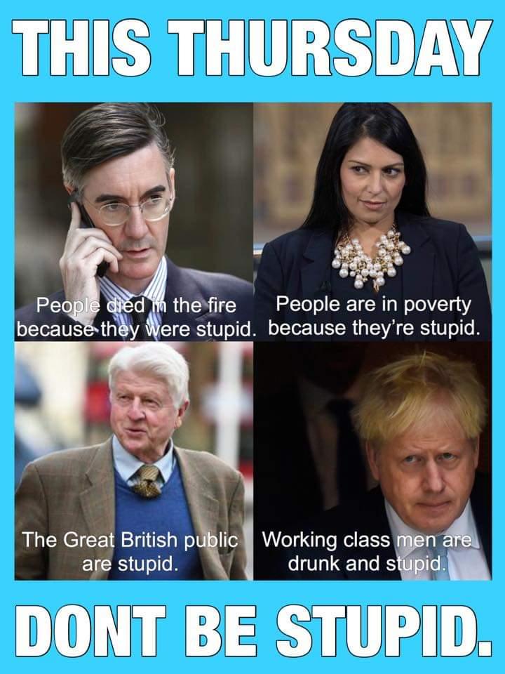 @meNabster @Conservatives @BorisJohnson @TheSun @DailyMailUK @Telegraph @RichardDawkins @RichardDesmond @jeremycorbyn @Andrew_Adonis @joswinson @LibDems @theSNP @guardian @UKSupremeCourt @UKCivilService @OECD @UNHumanRights @wto The best & brightest of @BorisJohnsons @Conservatives cabinet of bigots & misfits think very highly of the British voters they serve - #VoteTacticallyNotTribally #VoteTactical #VoteToriesOut - Your life depends on it, literaly. @meNabster