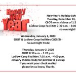 Image for the Tweet beginning: New Year's Holiday Schedule...