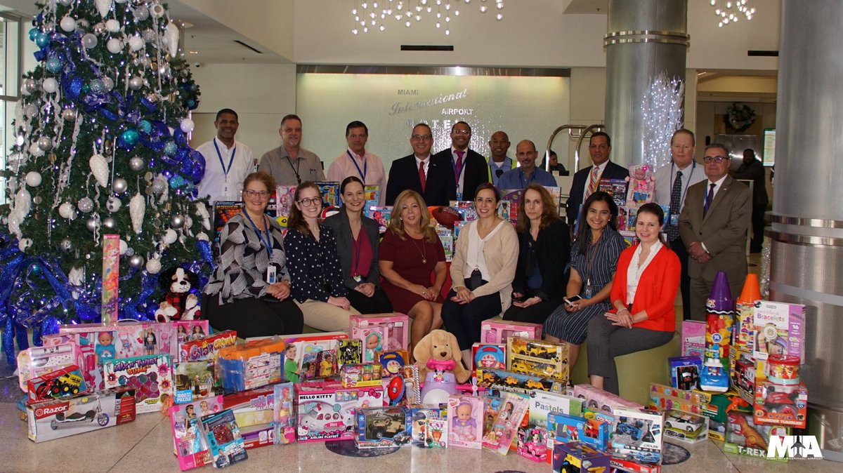 Theres snow ❄️better place to spread holiday cheer than right here in #OurCounty. This year, the MIA ✈️ family came together for @MayorGimenezs Toy Drive in support of children in need of our community.