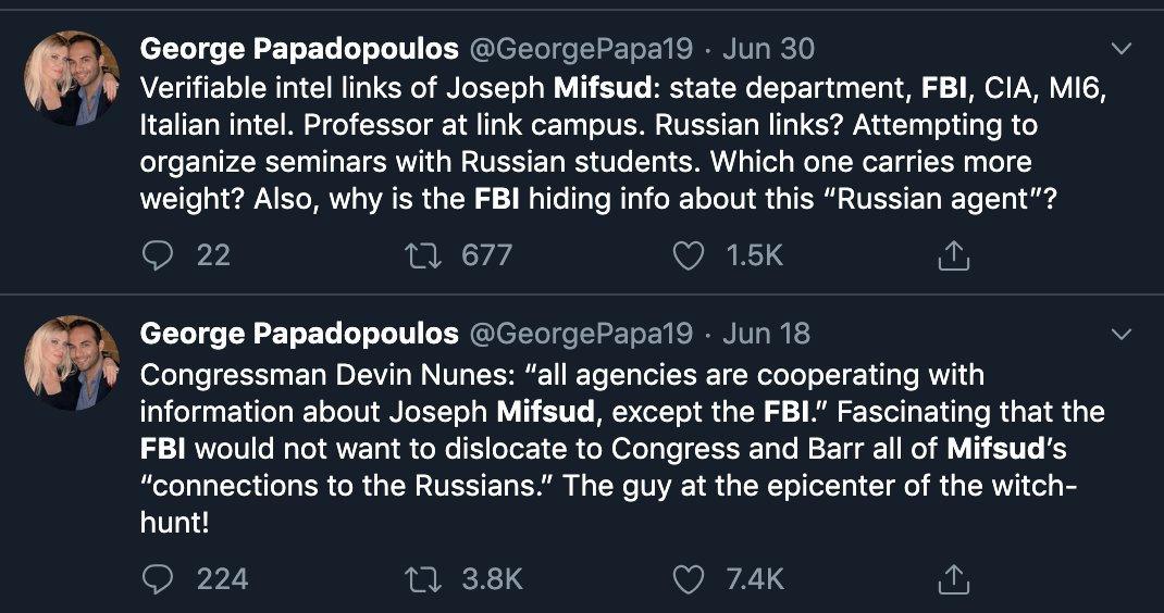 In addition to claiming he was under FISA surveillance, which the IG denied, Papadopoulos has tweeted several times alleging that Joseph Mifsud was an FBI plant/asset/source. He alleged it in congressional testimony too. But the IG checked it out and found no evidence for it. <br>http://pic.twitter.com/WbocF1KFIM