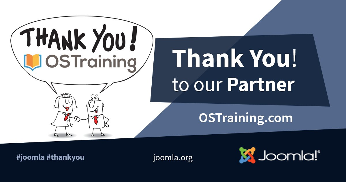 A big shout out THANK YOU to our Partner OS Training for your support! You guys rock! @OSTraining  #Joomla #ThankYou  #Partner #grateful      https://www. ostraining.com/classes/joomla    <br>http://pic.twitter.com/K8jyvtYThd