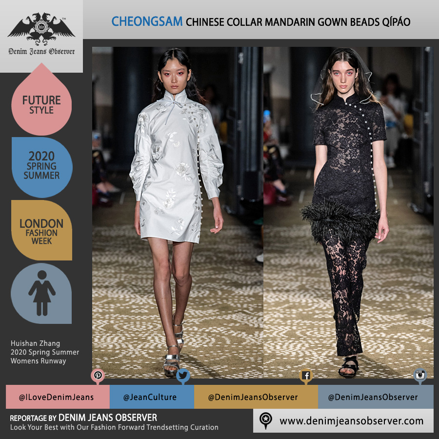 Huishan Zhang 2020 Spring Summer Womens Runway Catwalk Looks Collection - London Fashion Week Collections UK - Chinese Mandarin Gown Cheongsam Qípáo Bedazzled Pearls Beads Jacquard Brocade Lace Embroidery Dress Fringes Feathers Tulle Sheer Veil - Fashion Forward Trendsetting Curation by Denim Jeans Observer