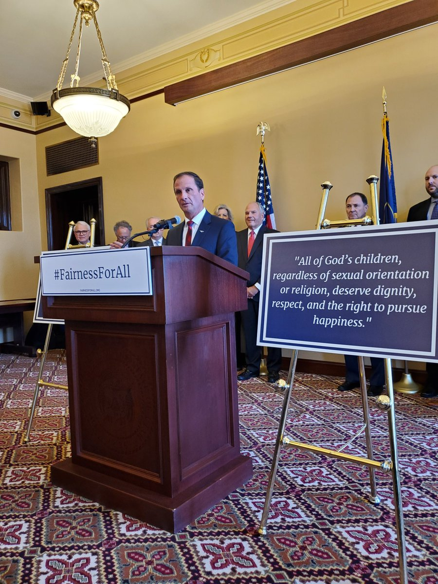 Here at the Fairness for All Press Conference. @RepChrisStewart has introduced legislation in Congress that builds on Utah's 2015 legislation that protects religious freedom and LGBT rights #FairnessforAll #utpol<br>http://pic.twitter.com/Te1FqHyB1q