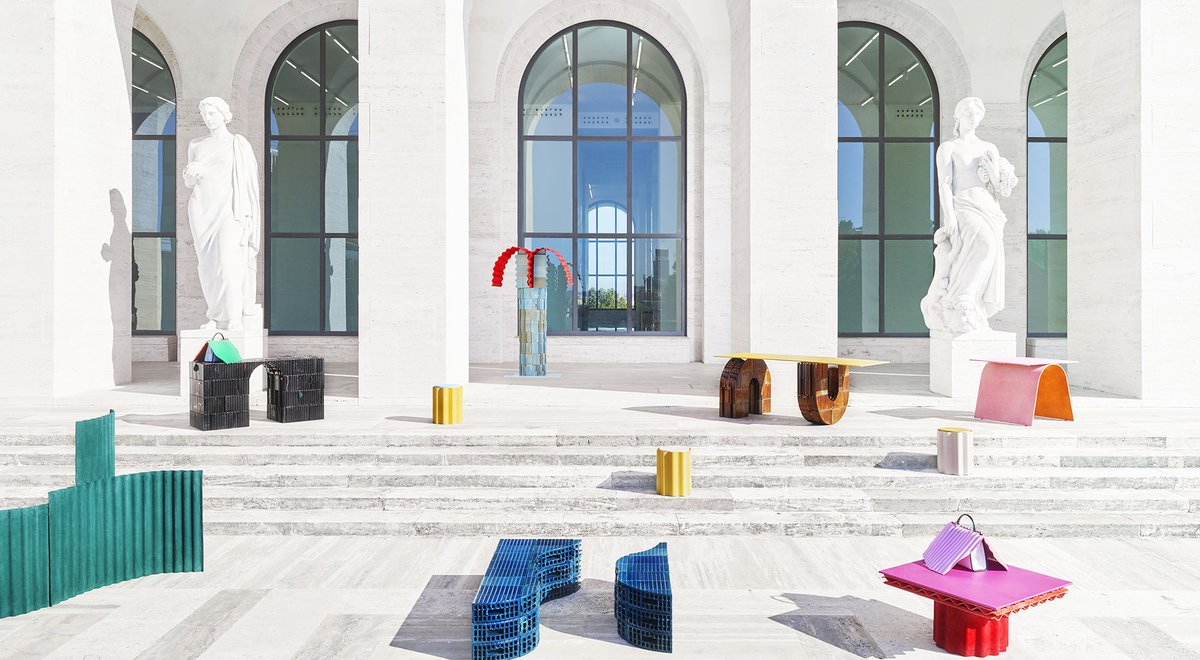 """The Palazzo della Civiltà Italiana, headquarters of Maison @Fendi, provided inspiration for Swiss architects Lovis Caputo and Sarah Kueng who created the """"Roman Molds"""" collection of design pieces presented during @DesignMiami 2019.  https://www. lvmh.com/news-documents /news/lvmh-maisons-showcase-artistic-affinities-at-art-basel-and-design-miami-2019/  …  #Fendi #DesignMiami <br>http://pic.twitter.com/BaYyWKxSKt"""